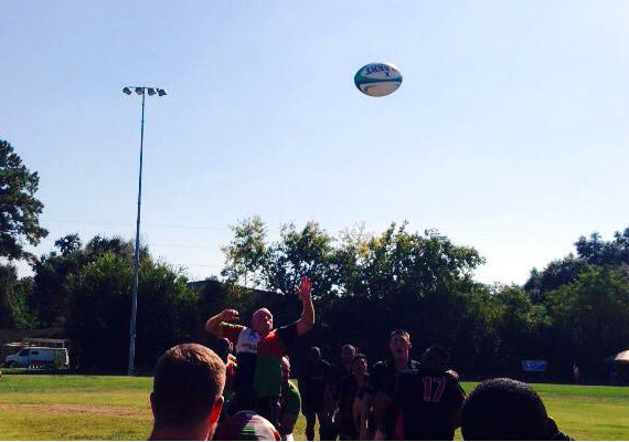 Perfect line out with our rather excellent hooker looking on! Katy Lions vs Forth Hood 10.25.2014